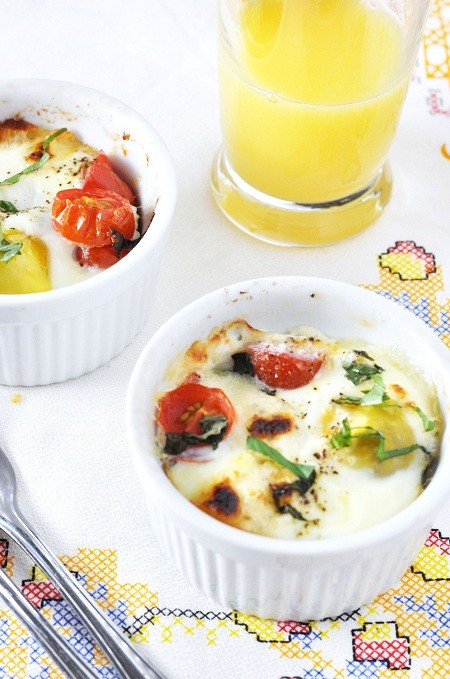 Baked Potato Caprese Breakfast Egg Cups - Savoring the Thyme