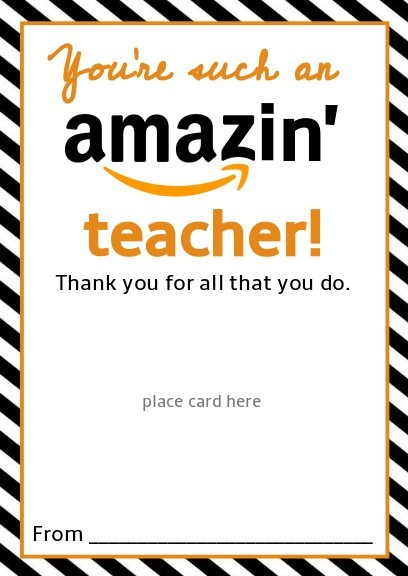 photo about Teacher Appreciation Cards Printable titled Absolutely free Amazon Trainer Present Card Printable Template - Provide Present