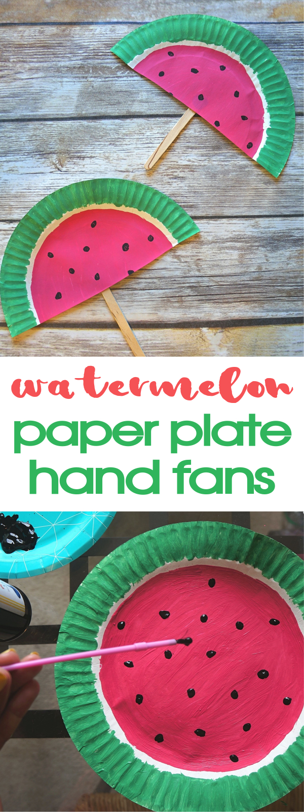 DIY Paper Plate Watermelon Fans Craft - Such A Cute Summer Activity! DIY hand fans & DIY Paper Plate Watermelon Fans Craft - Such A Cute Summer Activity!