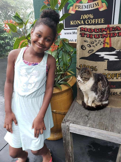 Girl hangs out with resident cat at Mountain Thunder Coffee Plantation, Kailua Kona Hawaii
