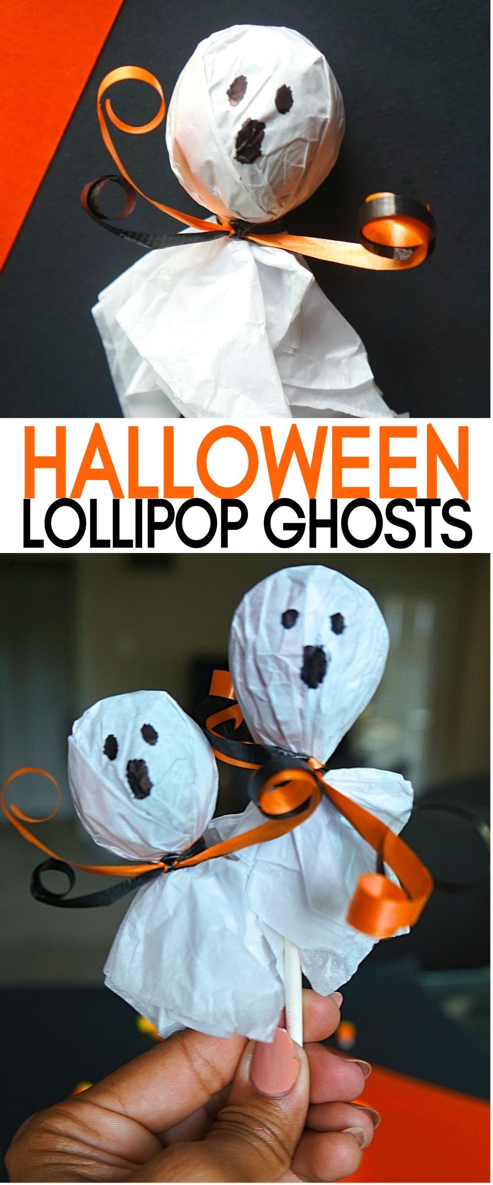 Easy Halloween Ghost Lollipops - Cute Halloween Treats for School | fast and easy halloween treats | Halloween ghost lollipops | halloween lollipop ghosts | halloween snacks for school | tissue paper ghosts | tootsie pop ghosts | how to make lollipop ghosts | how to make lollipop ghosts | honeyandlime.co