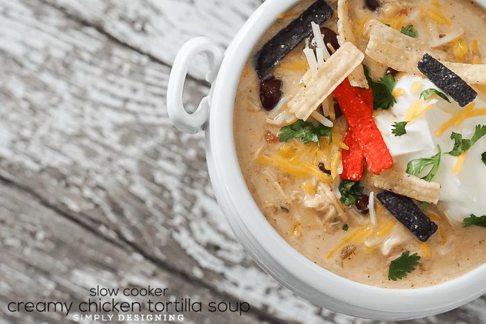 Slow cooker chicken soup recipes - creamy chicken tortilla soup