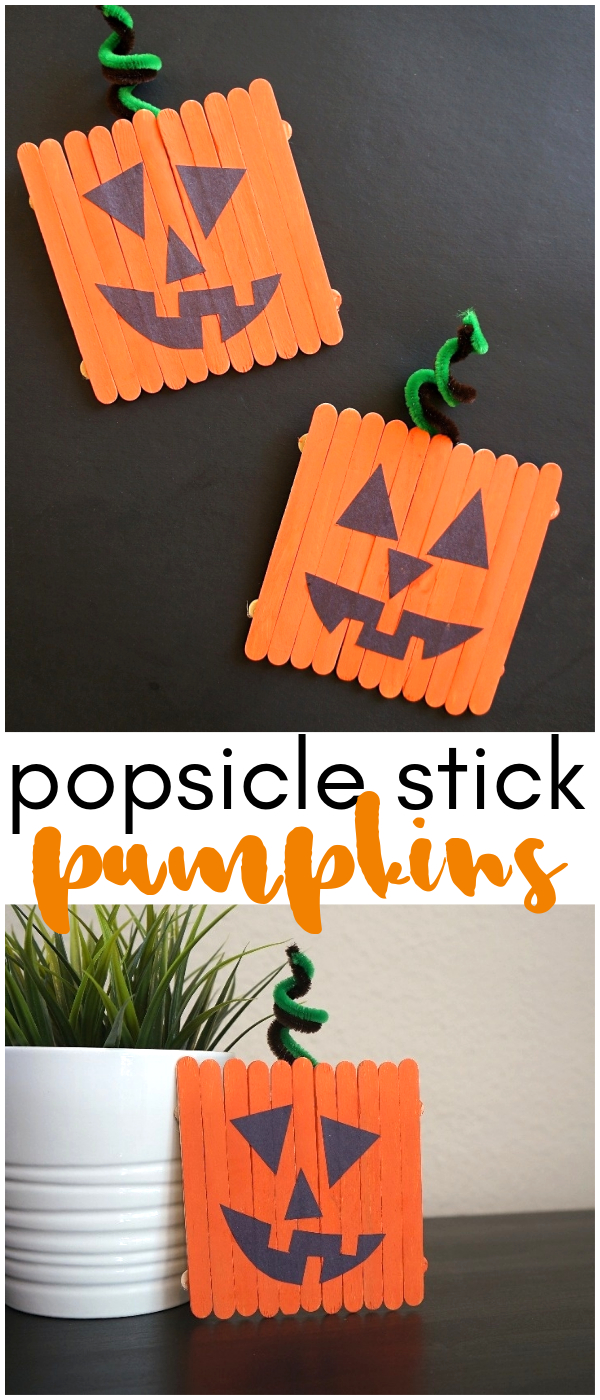 halloween popsicle stick pumpkins craft - a fun jack-o-lantern project!