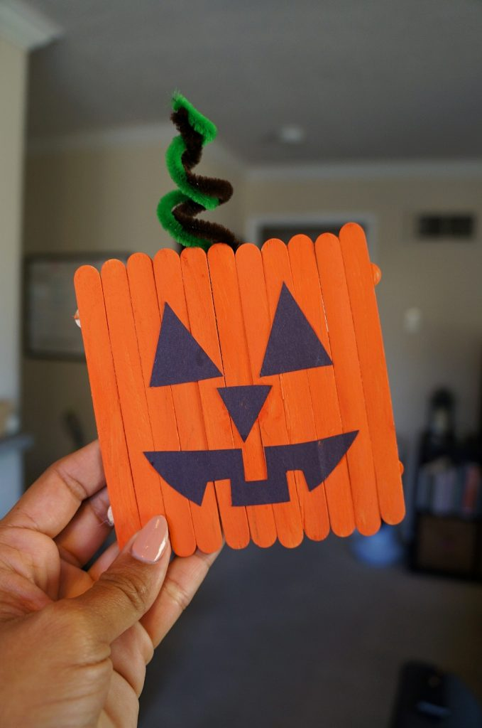 Pumpkin art projects for kids - fall popsicle stick crafts