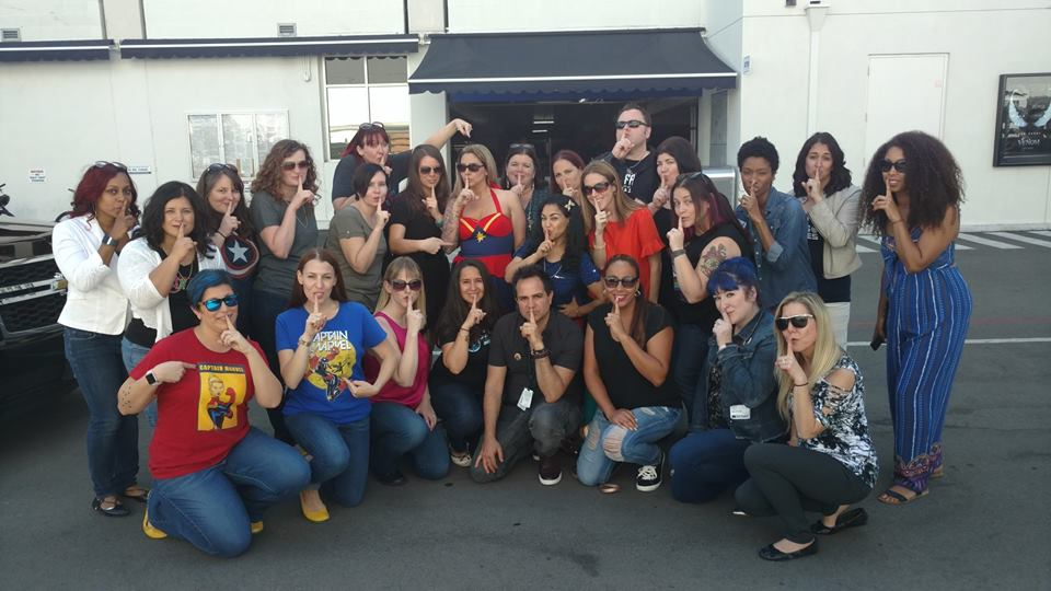 Captain Marvel set visit Disney bloggers group photo