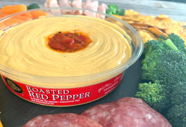Hummus and Veggie platter - Boar's Head Roasted Red Pepper Hummus is the star of an appetizer tray