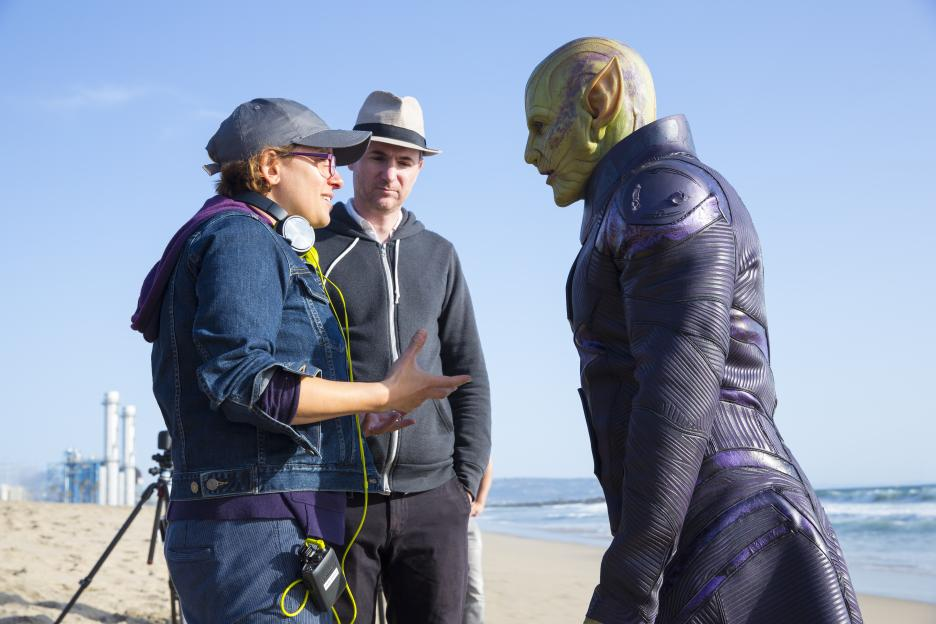 Captain Marvel behind the scenes - Directors with Talos Skrull