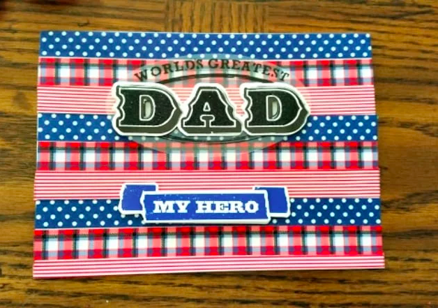 Handmade washi tape Father's Day card - Thrifty Jinxy