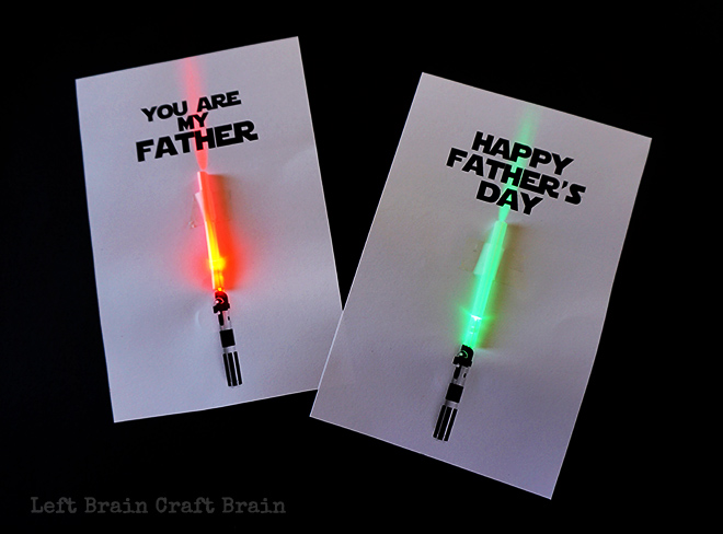 Light Up Father's Day card template - Left Brain Craft Brain