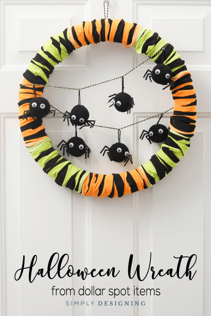 Easy to make spider Halloween Wreath dollar store halloween crafts, Simply Designing
