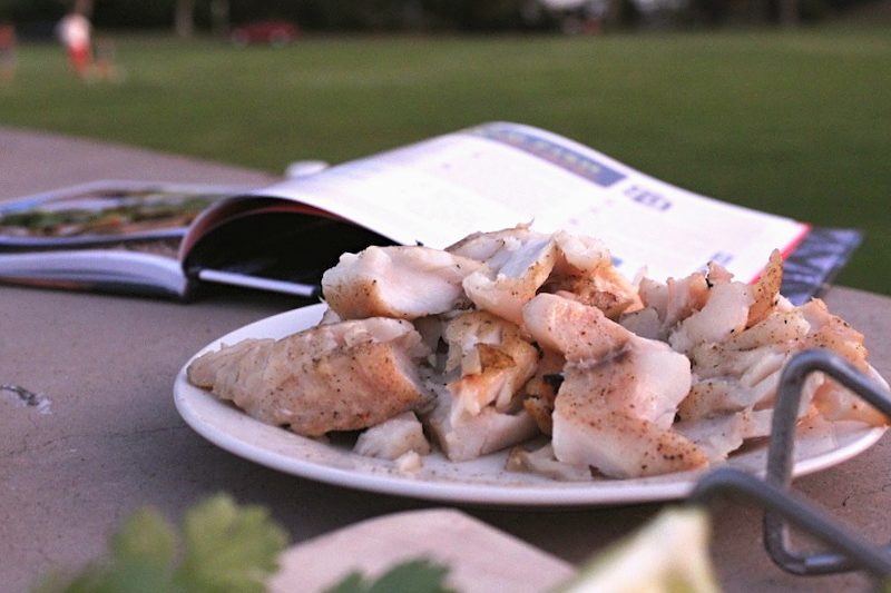 Fresh grilled rockfish for fish tacos