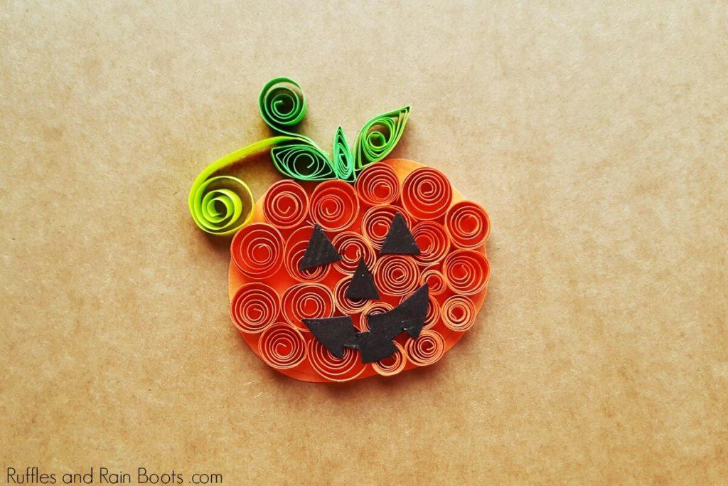 Fun Halloween Craft for Kids Quilled Pumpkin, Ruffles and Rainboots