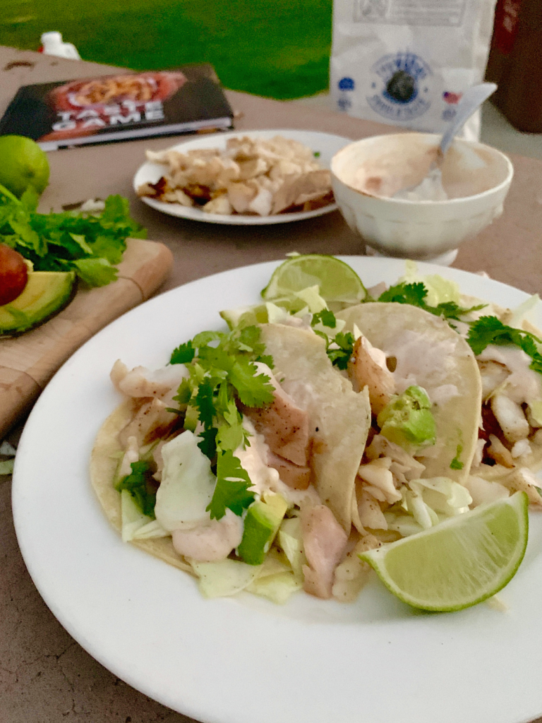 Grilled Fish Tacos Recipe with Smoky Lime Crema - Grilling San Diego Padres Style