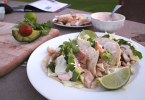 Grilled fish tacos with smoky lime crema