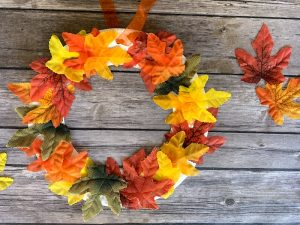 DIY Fall Leaves Wreath Craft for Kids